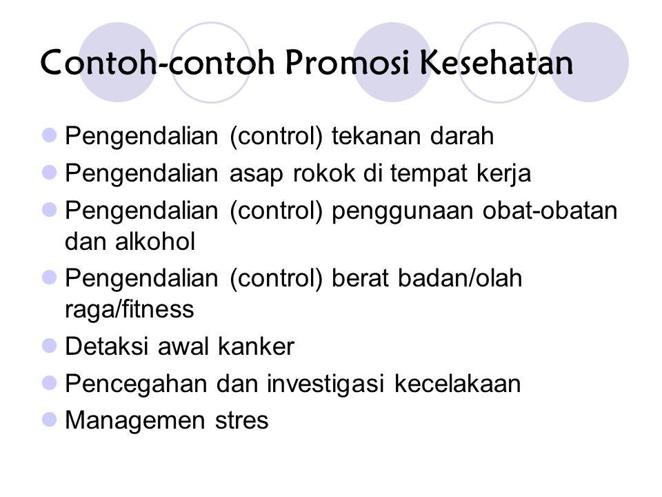 Contoh-contoh Promosi Kesehatan Pengendalian (control) tekanan darah Pengendalian asap rokok di tempat kerja Pengendalian (control) penggunaan obat-obatan dan alkohol Pengendalian (control) berat badan/olah raga/fitness Detaksi awal kanker Pencegahan dan investigasi kecelakaan Managemen stres