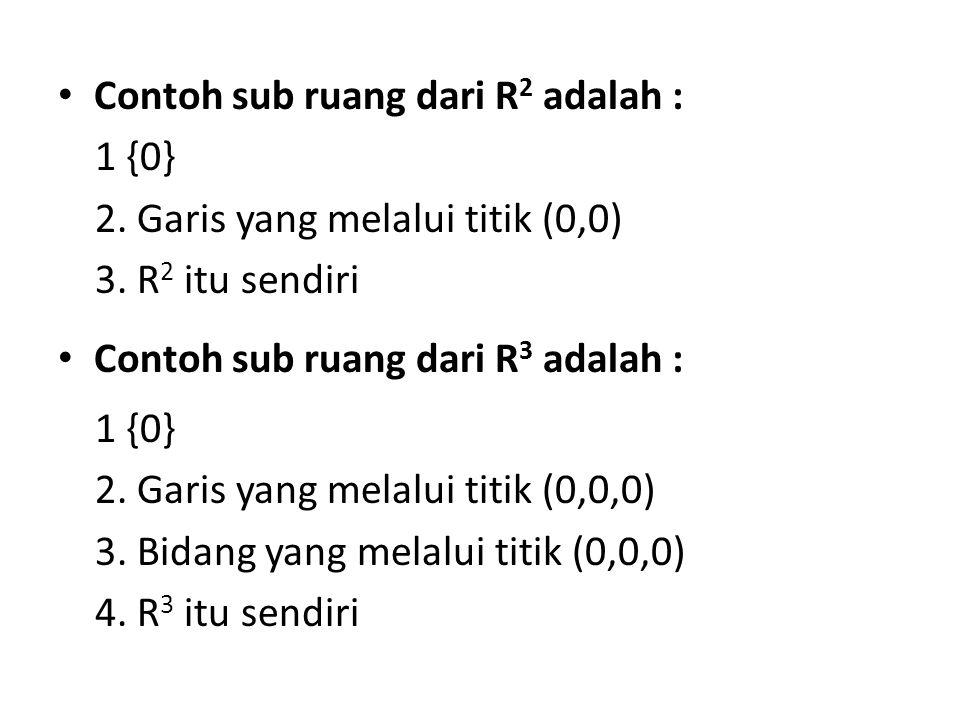 Contoh sub ruang dari R 2 adalah : 1 {0} 2. Garis yang melalui titik (0,0) 3. R 2 itu sendiri Contoh sub ruang dari R 3 adalah : 1 {0} 2. Garis yang m