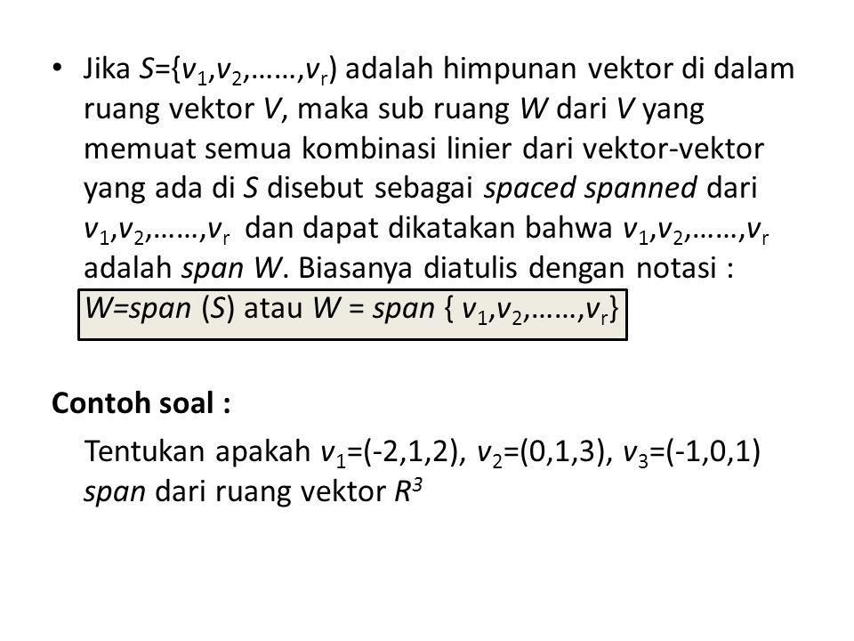 Jika S={v 1,v 2,……,v r ) adalah himpunan vektor di dalam ruang vektor V, maka sub ruang W dari V yang memuat semua kombinasi linier dari vektor-vektor