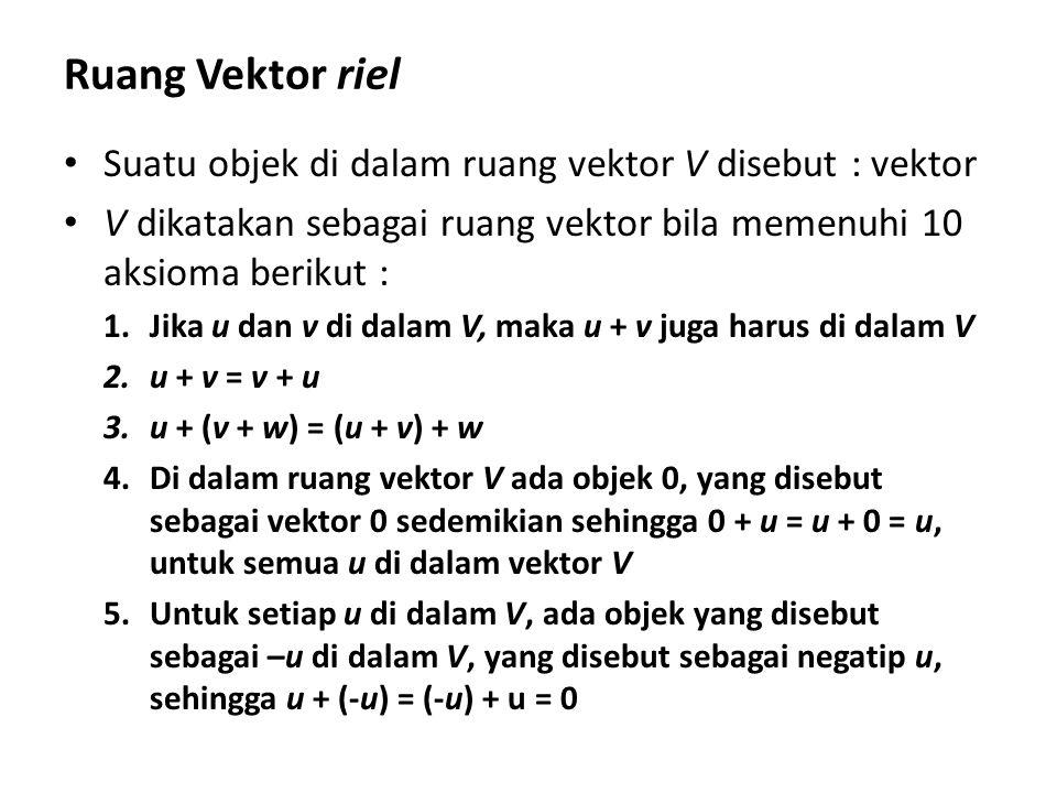Kombinasi Linier dan Span Sebuah vektor w dikatakan merupakan suatu kombinasi linier dari vektor-vektor v 1, v 2 ……v n jika vektor w dapat dituliskan sebagai : w = a 1 v 1 + a 2 v 2 + ……..+ a n v n dengan a 1, a 2 ……a n adalah sembarang skalar yang memenuhi persamaan.