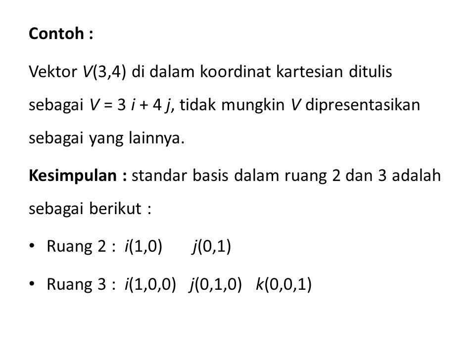 Contoh : Vektor V(3,4) di dalam koordinat kartesian ditulis sebagai V = 3 i + 4 j, tidak mungkin V dipresentasikan sebagai yang lainnya.