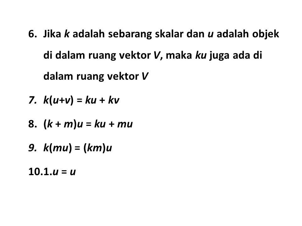x 3 + 2x 4 – 2x 5 = 0 x 1 + 2x 2 – 5x 4 + 7x 5 = 0 Solusinya : Maka yang menjadi basisnya adalah : Sedangkan dimensinya adalah 3 (karena basisnya ada 3) x 3 = –2x 4 + 2x 5 x 1 = – 2x 2 + 5x 4 – 7x 5