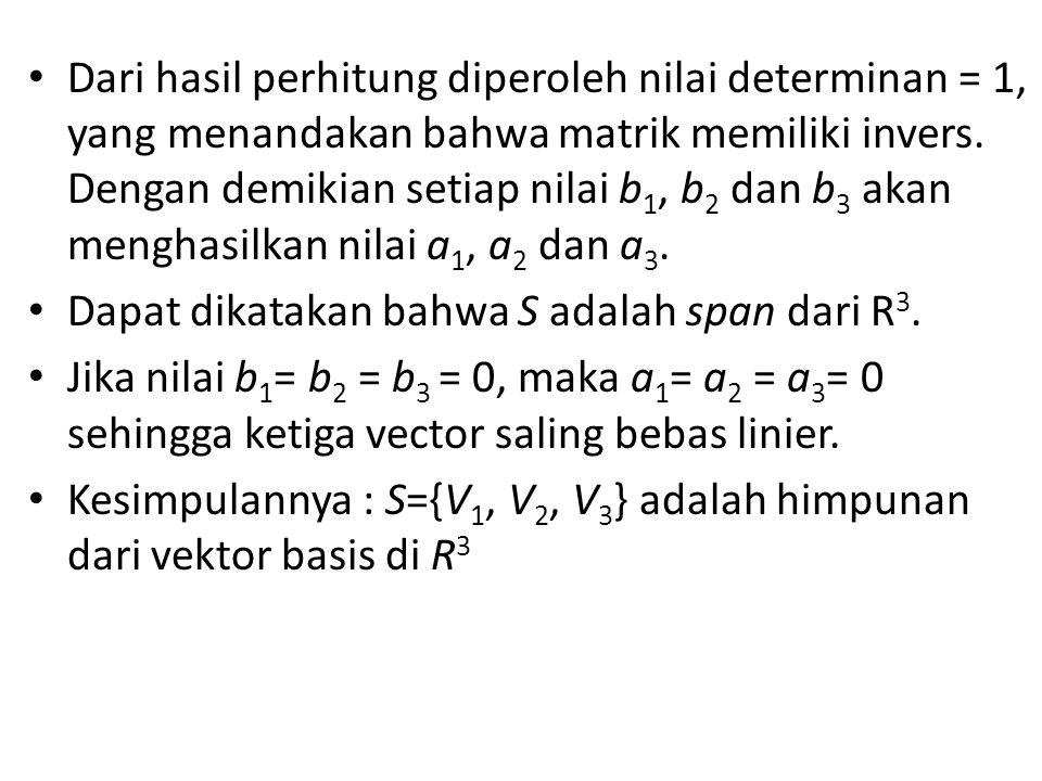 Dari hasil perhitung diperoleh nilai determinan = 1, yang menandakan bahwa matrik memiliki invers.