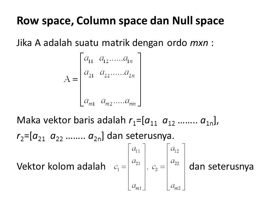Row space, Column space dan Null space Jika A adalah suatu matrik dengan ordo mxn : Maka vektor baris adalah r 1 =[a 11 a 12 …….. a 1n ], r 2 =[a 21 a