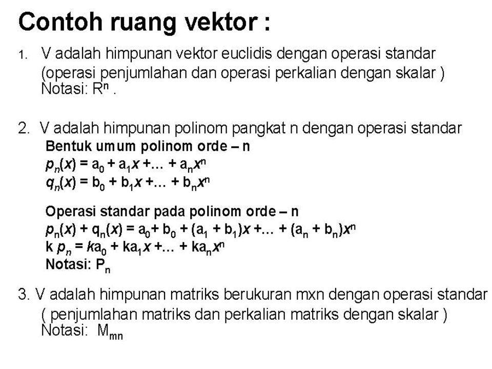Contoh soal: Jika terdapat sistem persamaan linier berikut : Tunjukkan bahwa solusi dari system persamaan adalah sub ruang vektor R 3 Jawab : Dapat dibuktikan bahwa solusi dari persamaan adalah : x-2y+3z =0.