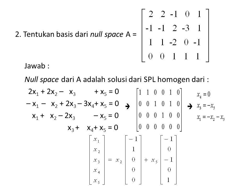 2. Tentukan basis dari null space A = Jawab : Null space dari A adalah solusi dari SPL homogen dari : 2x 1 + 2x 2 – x 3 + x 5 = 0 – x 1 – x 2 + 2x 3 –