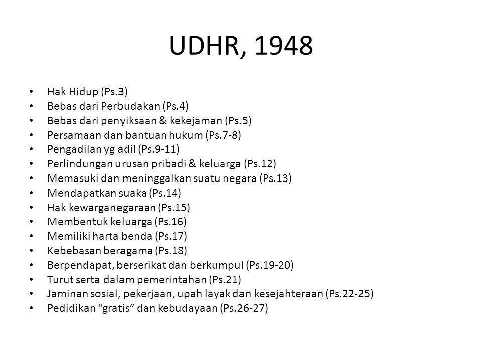 UDHR, 1948 Hak Hidup (Ps.3) Bebas dari Perbudakan (Ps.4) Bebas dari penyiksaan & kekejaman (Ps.5) Persamaan dan bantuan hukum (Ps.7-8) Pengadilan yg a
