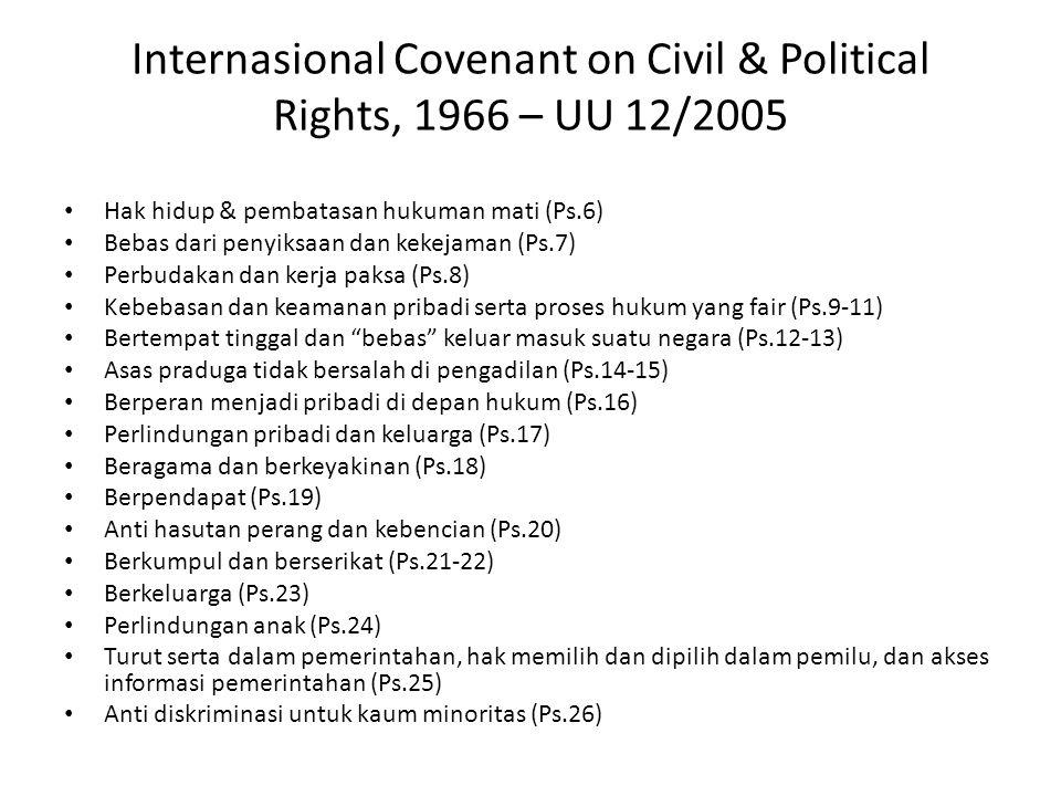 International Covenant on Social Economic & Cultural,1966 – UU 11/2005 Hak pekerjaan dan upah layak (Ps.6-7) Membentuk serikat pekerja & pemogokan (Ps.8) Jaminan dan asuransi sosial (Ps.9) Perlindungan keluarga, ibu hamil, anak & remaja dari eksploitasi ekonomi & sosial (Ps.10) Bebas kelaparan, sandang & papan yang layak (Ps.11) Pelayanan kesehatan fisik & mental (Ps.12) Pendidikan dasar gratis & pengembangan kebudayaan (Ps.13-15)
