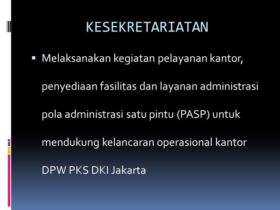 KESEKRETARIATAN  Melaksanakan kegiatan pelayanan kantor, penyediaan fasilitas dan layanan administrasi pola administrasi satu pintu (PASP) untuk mendukung kelancaran operasional kantor DPW PKS DKI Jakarta