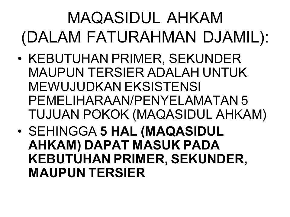 MAQASIDUL AHKAM (DALAM FATURAHMAN DJAMIL): KEBUTUHAN PRIMER, SEKUNDER MAUPUN TERSIER ADALAH UNTUK MEWUJUDKAN EKSISTENSI PEMELIHARAAN/PENYELAMATAN 5 TU