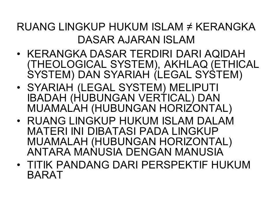RUANG LINGKUP HUKUM ISLAM ≠ KERANGKA DASAR AJARAN ISLAM KERANGKA DASAR TERDIRI DARI AQIDAH (THEOLOGICAL SYSTEM), AKHLAQ (ETHICAL SYSTEM) DAN SYARIAH (