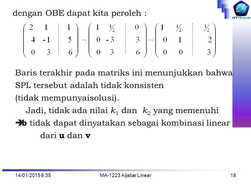 14/01/2015 8:37MA-1223 Aljabar Linear18 dengan OBE dapat kita peroleh : Baris terakhir pada matriks ini menunjukkan bahwa SPL tersebut adalah tidak ko