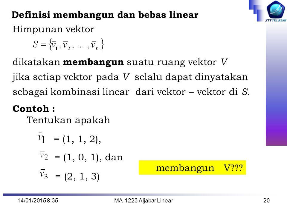 14/01/2015 8:37MA-1223 Aljabar Linear20 Himpunan vektor dikatakan membangun suatu ruang vektor V jika setiap vektor pada V selalu dapat dinyatakan seb