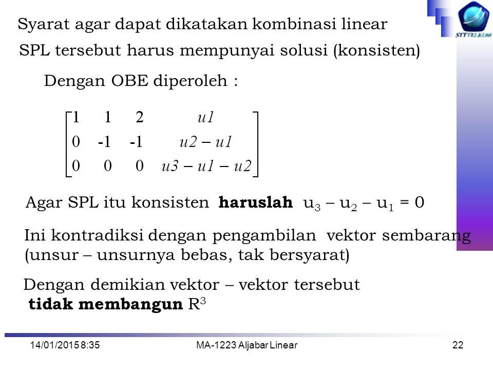 14/01/2015 8:37MA-1223 Aljabar Linear22 Syarat agar dapat dikatakan kombinasi linear SPL tersebut harus mempunyai solusi (konsisten) Dengan OBE dipero