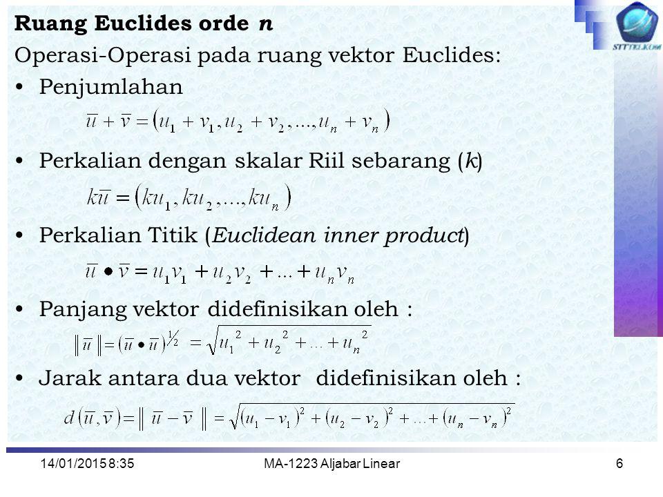 14/01/2015 8:37MA-1223 Aljabar Linear6 Ruang Euclides orde n Operasi-Operasi pada ruang vektor Euclides: Penjumlahan Perkalian dengan skalar Riil seba