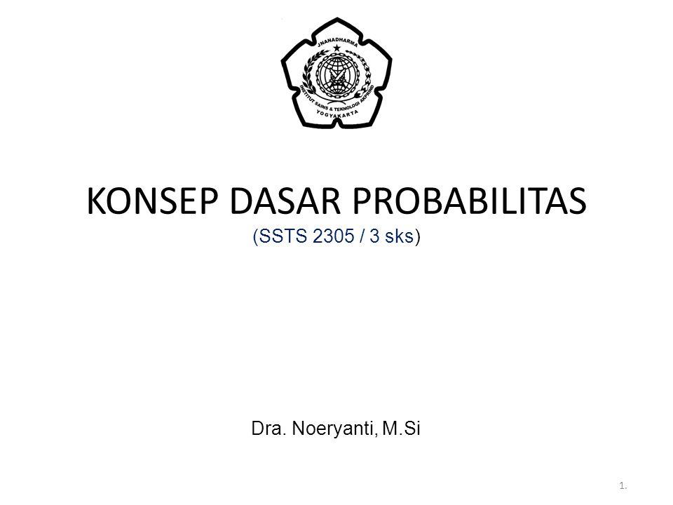 KONSEP DASAR PROBABILITAS (SSTS 2305 / 3 sks) Dra. Noeryanti, M.Si 1.