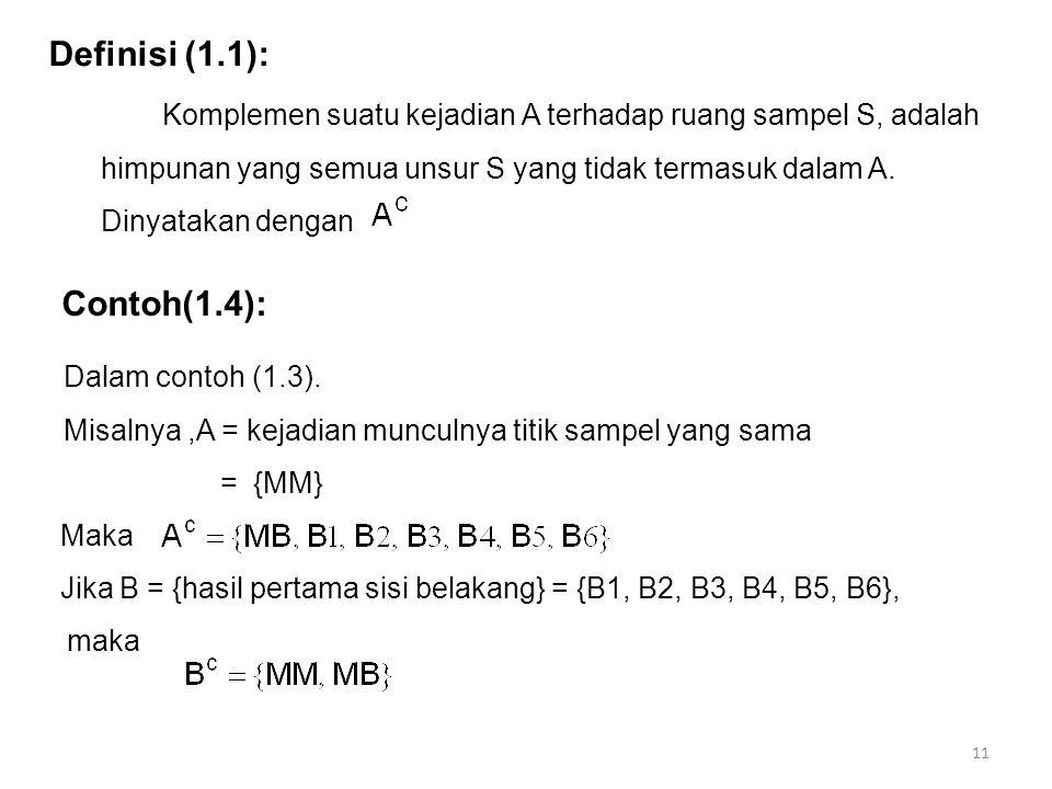 11 Definisi (1.1): Komplemen suatu kejadian A terhadap ruang sampel S, adalah himpunan yang semua unsur S yang tidak termasuk dalam A. Dinyatakan deng