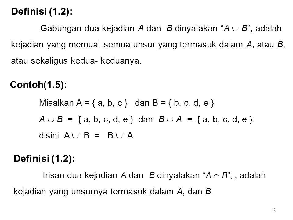 "12 Definisi (1.2): Gabungan dua kejadian A dan B dinyatakan ""A  B"", adalah kejadian yang memuat semua unsur yang termasuk dalam A, atau B, atau sekal"