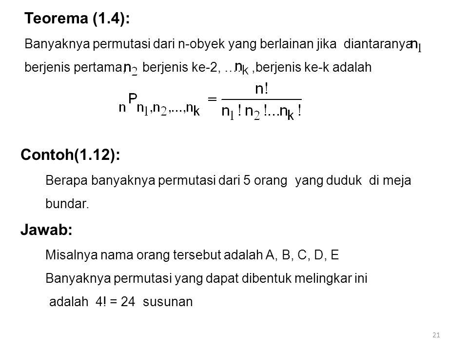 21 Teorema (1.4): Banyaknya permutasi dari n-obyek yang berlainan jika diantaranya berjenis pertama, berjenis ke-2, ….,berjenis ke-k adalah Contoh(1.1