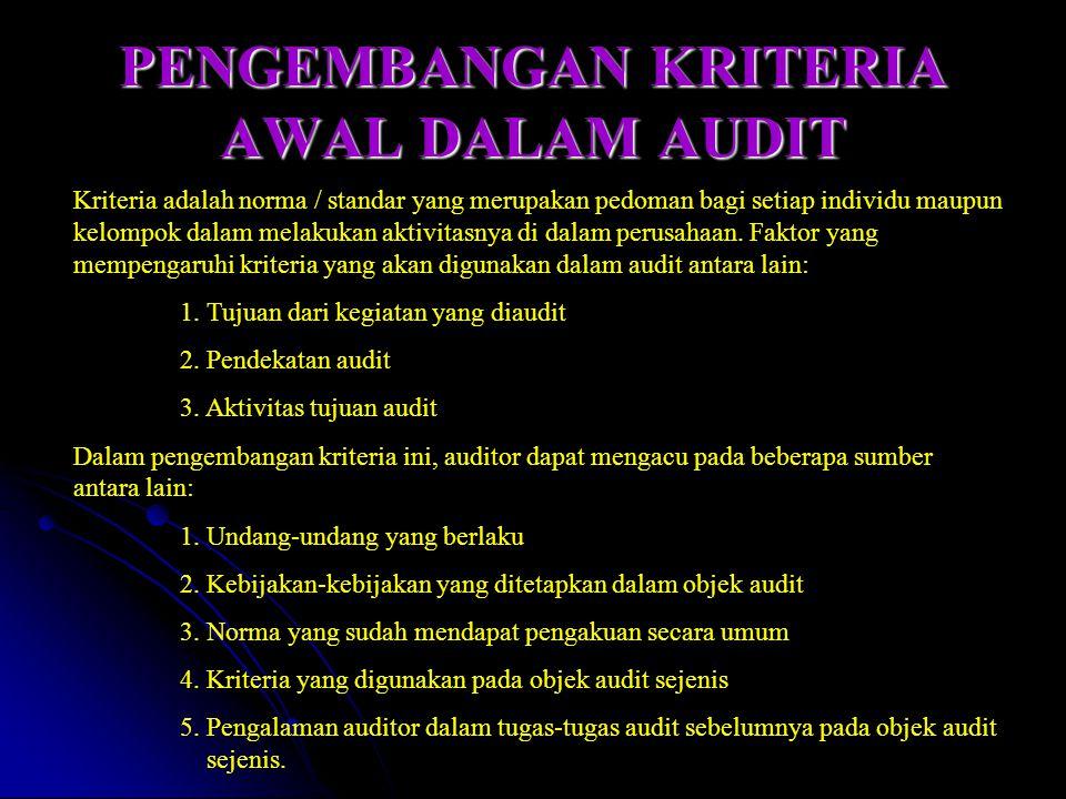 PENGEMBANGAN KRITERIA AWAL DALAM AUDIT Kriteria adalah norma / standar yang merupakan pedoman bagi setiap individu maupun kelompok dalam melakukan akt