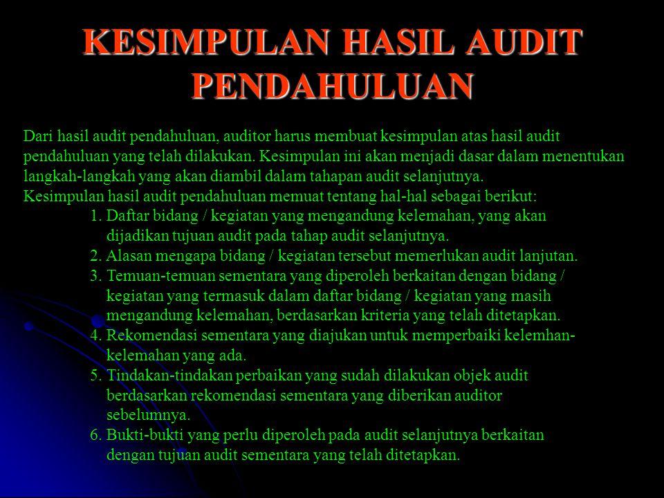 KESIMPULAN HASIL AUDIT PENDAHULUAN Dari hasil audit pendahuluan, auditor harus membuat kesimpulan atas hasil audit pendahuluan yang telah dilakukan. K