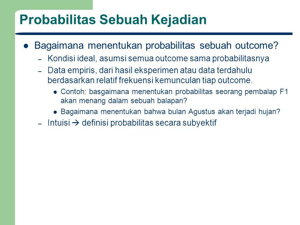 Probabilitas Sebuah Kejadian Bagaimana menentukan probabilitas sebuah outcome? – Kondisi ideal, asumsi semua outcome sama probabilitasnya – Data empir