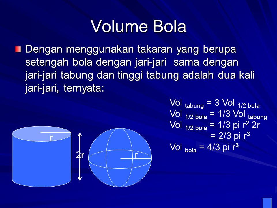 Volume Bola Dengan menggunakan takaran yang berupa setengah bola dengan jari-jari sama dengan jari-jari tabung dan tinggi tabung adalah dua kali jari-