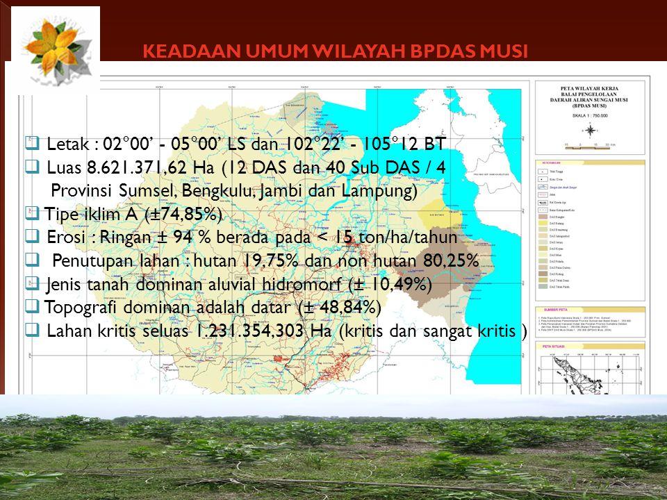 KEADAAN UMUM WILAYAH BPDAS MUSI  Letak : 02°00' - 05°00' LS dan 102°22' - 105°12 BT  Luas 8.621.371,62 Ha (12 DAS dan 40 Sub DAS / 4 Provinsi Sumsel, Bengkulu, Jambi dan Lampung)  Tipe iklim A (±74,85%)  Erosi : Ringan ± 94 % berada pada < 15 ton/ha/tahun  Penutupan lahan : hutan 19,75% dan non hutan 80,25%  Jenis tanah dominan aluvial hidromorf (± 10,49%)  Topografi dominan adalah datar (± 48,84%)  Lahan kritis seluas 1.231.354,303 Ha (kritis dan sangat kritis )