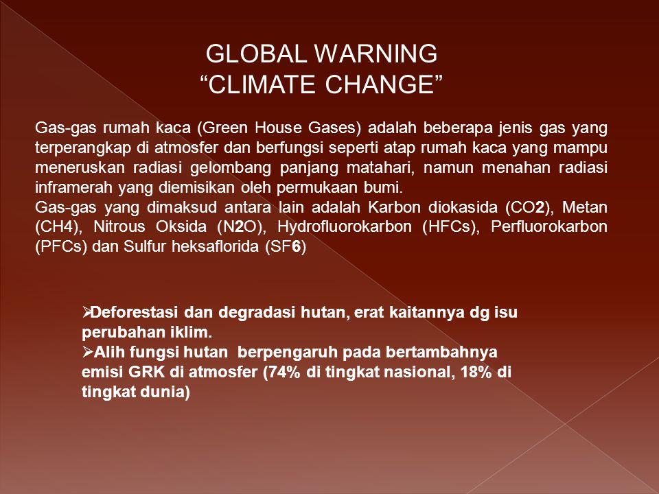 GLOBAL WARNING CLIMATE CHANGE  Deforestasi dan degradasi hutan, erat kaitannya dg isu perubahan iklim.