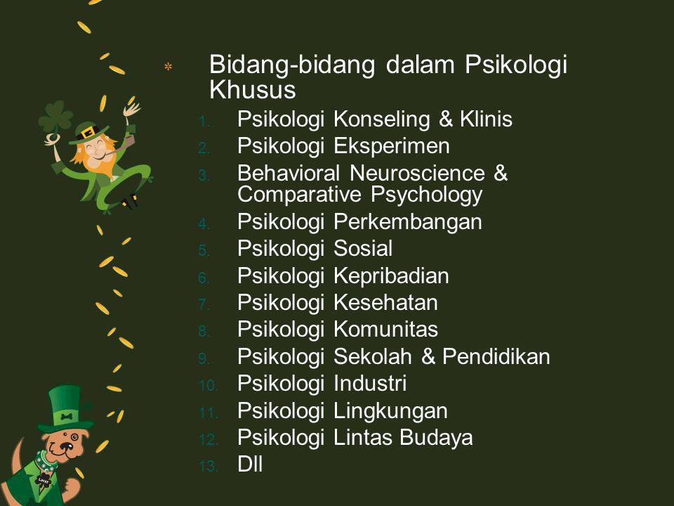 ٭ Bidang-bidang dalam Psikologi Khusus 1. Psikologi Konseling & Klinis 2. Psikologi Eksperimen 3. Behavioral Neuroscience & Comparative Psychology 4.