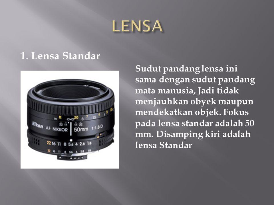1. Lensa Standar Sudut pandang lensa ini sama dengan sudut pandang mata manusia, Jadi tidak menjauhkan obyek maupun mendekatkan objek. Fokus pada lens