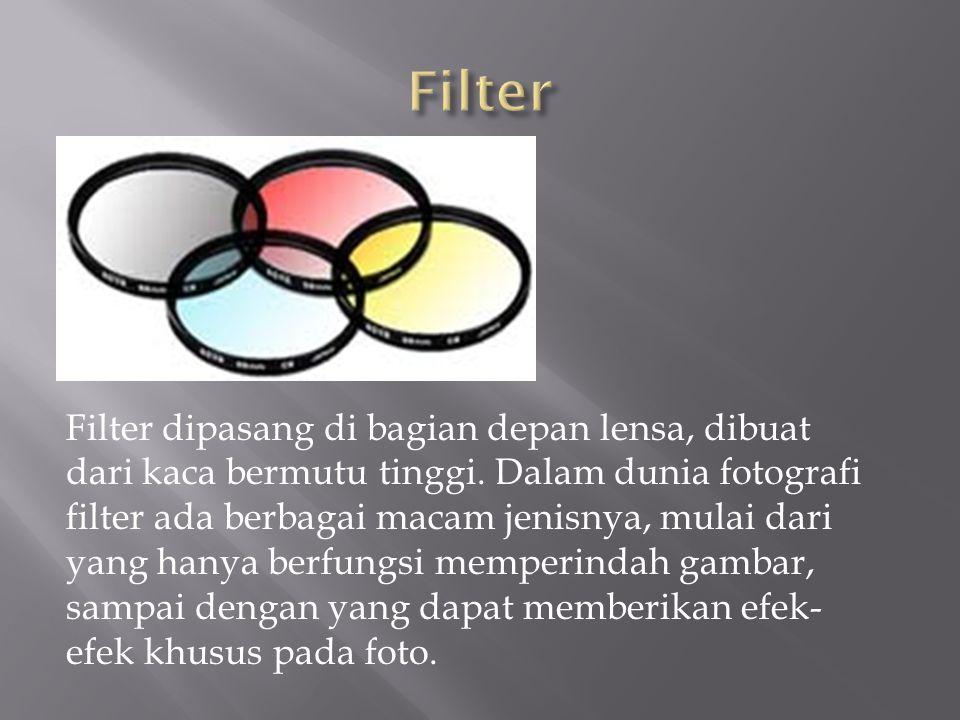 Filter dipasang di bagian depan lensa, dibuat dari kaca bermutu tinggi. Dalam dunia fotografi filter ada berbagai macam jenisnya, mulai dari yang hany
