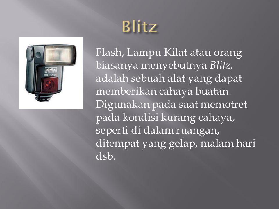 Flash, Lampu Kilat atau orang biasanya menyebutnya Blitz, adalah sebuah alat yang dapat memberikan cahaya buatan. Digunakan pada saat memotret pada ko