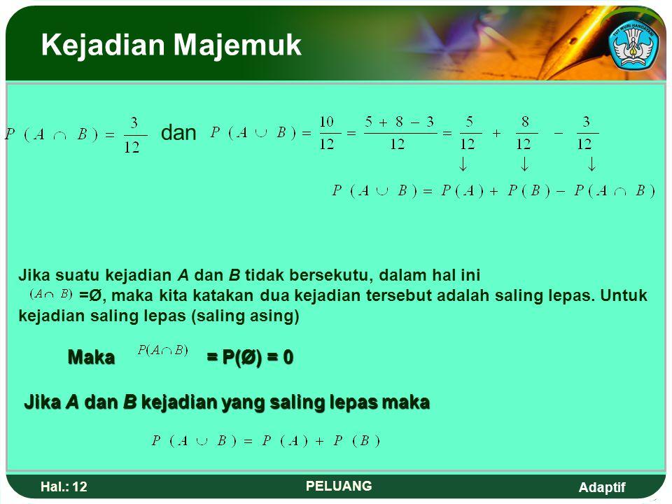 Adaptif Hal.: 11 PELUANG Kejadian Majemuk 2.Dua Kejadian Saling Lepas.1.4 A.2.5.7.3.11 B.6.8.9.10.12 S Maka A = {2, 3, 5, 7, 11} dan B = {5, 6, 7, 8,