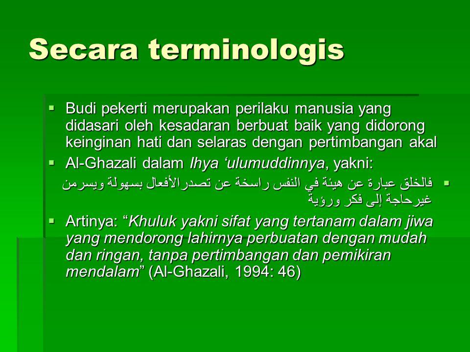 Klasifikasi Istilah Akhlak, Etika dan Moral  Etika adalah ilmu tentang filsafat moral, tidak mengenai fakta, melainkan tentang nilai-nilai dan moral berkaitan dengan tindakan manusia,tentang idenya.