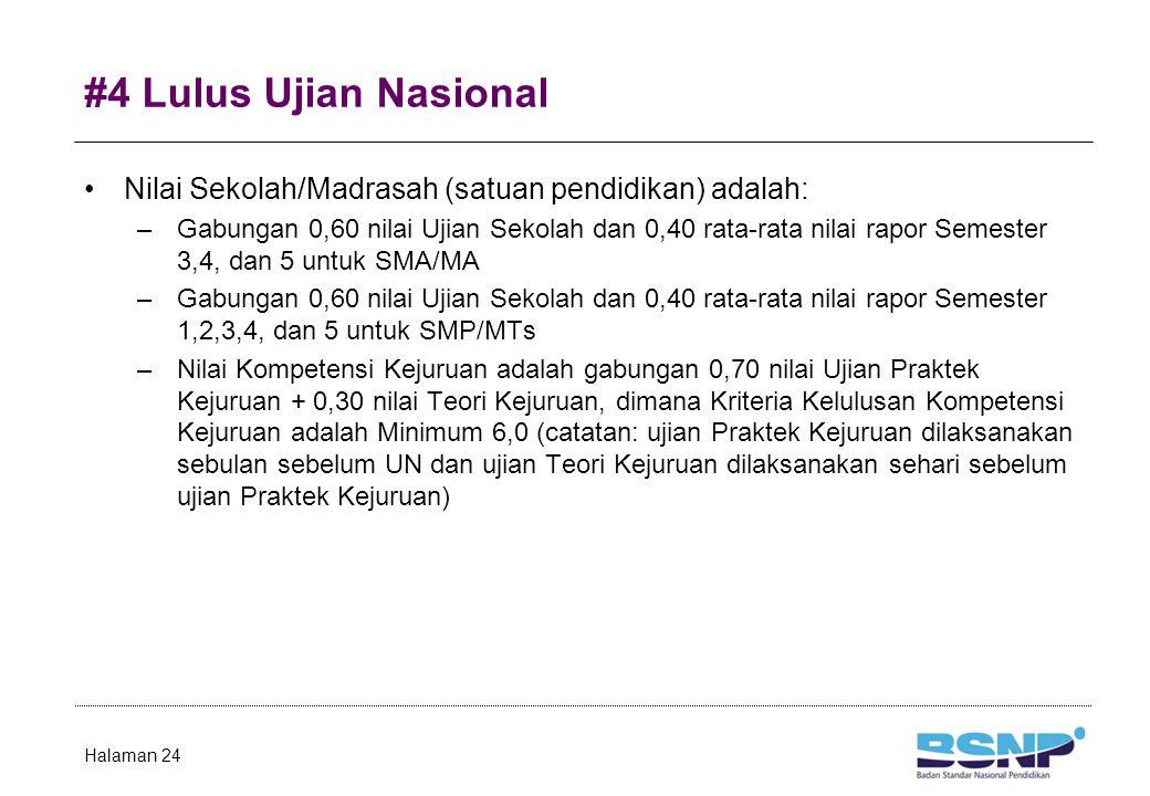#4 Lulus Ujian Nasional Nilai Sekolah/Madrasah (satuan pendidikan) adalah: –Gabungan 0,60 nilai Ujian Sekolah dan 0,40 rata-rata nilai rapor Semester