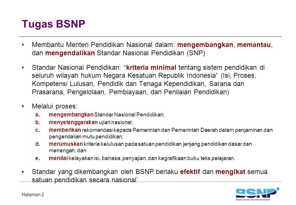 Tugas BSNP Membantu Menteri Pendidikan Nasional dalam: mengembangkan, memantau, dan mengendalikan Standar Nasional Pendidikan (SNP) Standar Nasional P