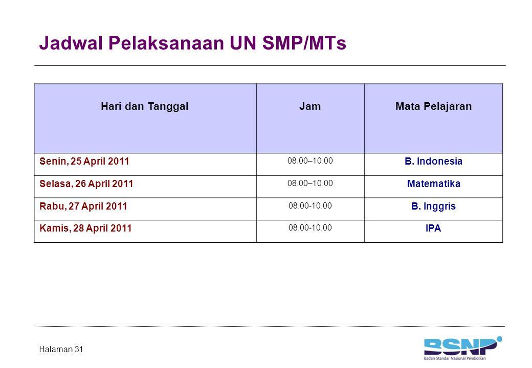 Jadwal Pelaksanaan UN SMP/MTs Halaman 31 Hari dan TanggalJamMata Pelajaran Senin, 25 April 2011 08.00–10.00 B. Indonesia Selasa, 26 April 2011 08.00–1