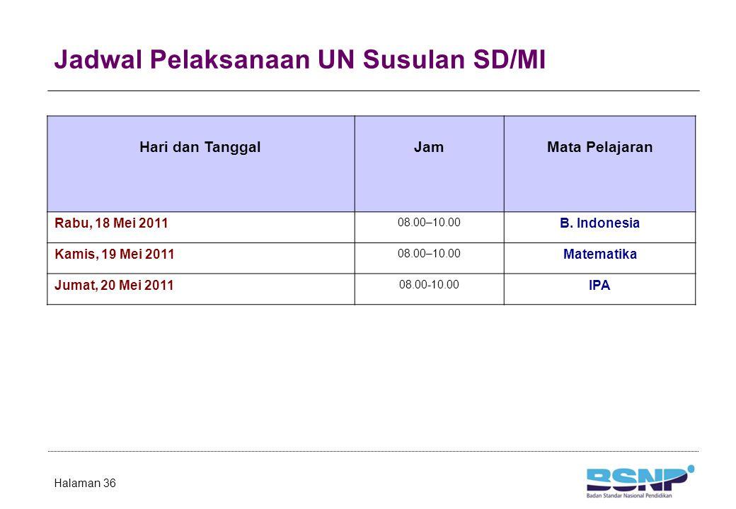 Jadwal Pelaksanaan UN Susulan SD/MI Halaman 36 Hari dan TanggalJamMata Pelajaran Rabu, 18 Mei 2011 08.00–10.00 B. Indonesia Kamis, 19 Mei 2011 08.00–1