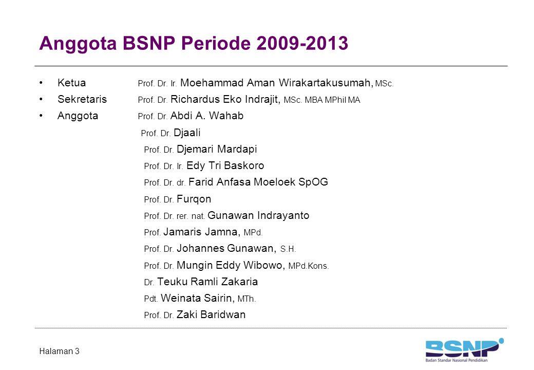 Anggota BSNP Periode 2009-2013 Ketua Prof. Dr. Ir. Moehammad Aman Wirakartakusumah, MSc. Sekretaris Prof. Dr. Richardus Eko Indrajit, MSc. MBA MPhil M