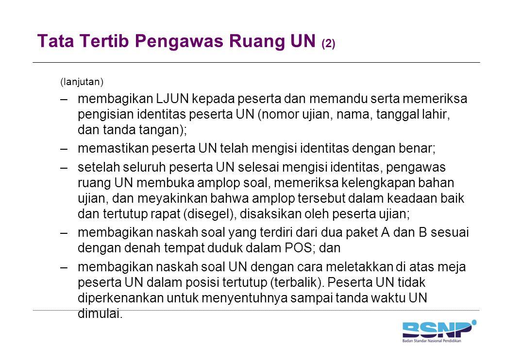 Tata Tertib Pengawas Ruang UN (2) (lanjutan) –membagikan LJUN kepada peserta dan memandu serta memeriksa pengisian identitas peserta UN (nomor ujian,