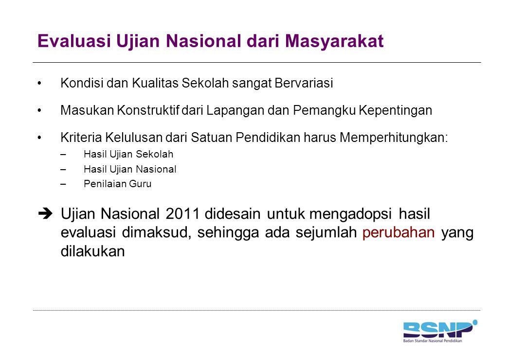 Ujian Nasional 2011 1.UN Tahun Pelajaran 2011/2011 dilaksanakan satu kali 2.