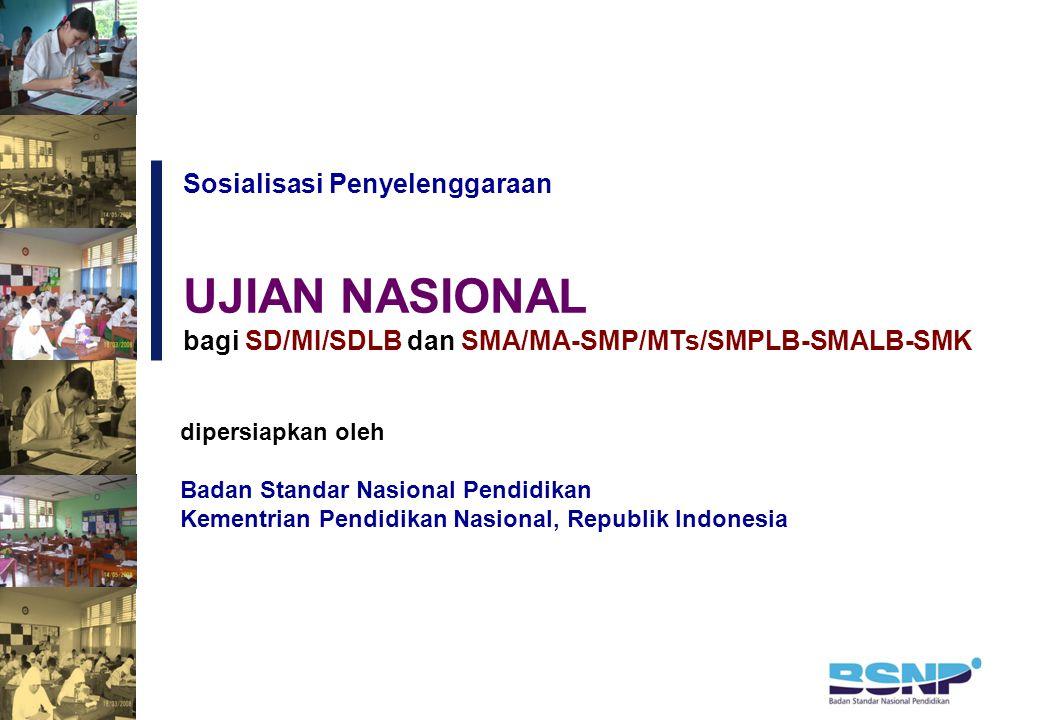 Sosialisasi Penyelenggaraan dipersiapkan oleh Badan Standar Nasional Pendidikan Kementrian Pendidikan Nasional, Republik Indonesia UJIAN NASIONAL bagi SD/MI/SDLB dan SMA/MA-SMP/MTs/SMPLB-SMALB-SMK