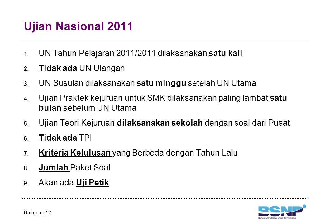 Ujian Nasional 2011 1. UN Tahun Pelajaran 2011/2011 dilaksanakan satu kali 2. Tidak ada UN Ulangan 3. UN Susulan dilaksanakan satu minggu setelah UN U