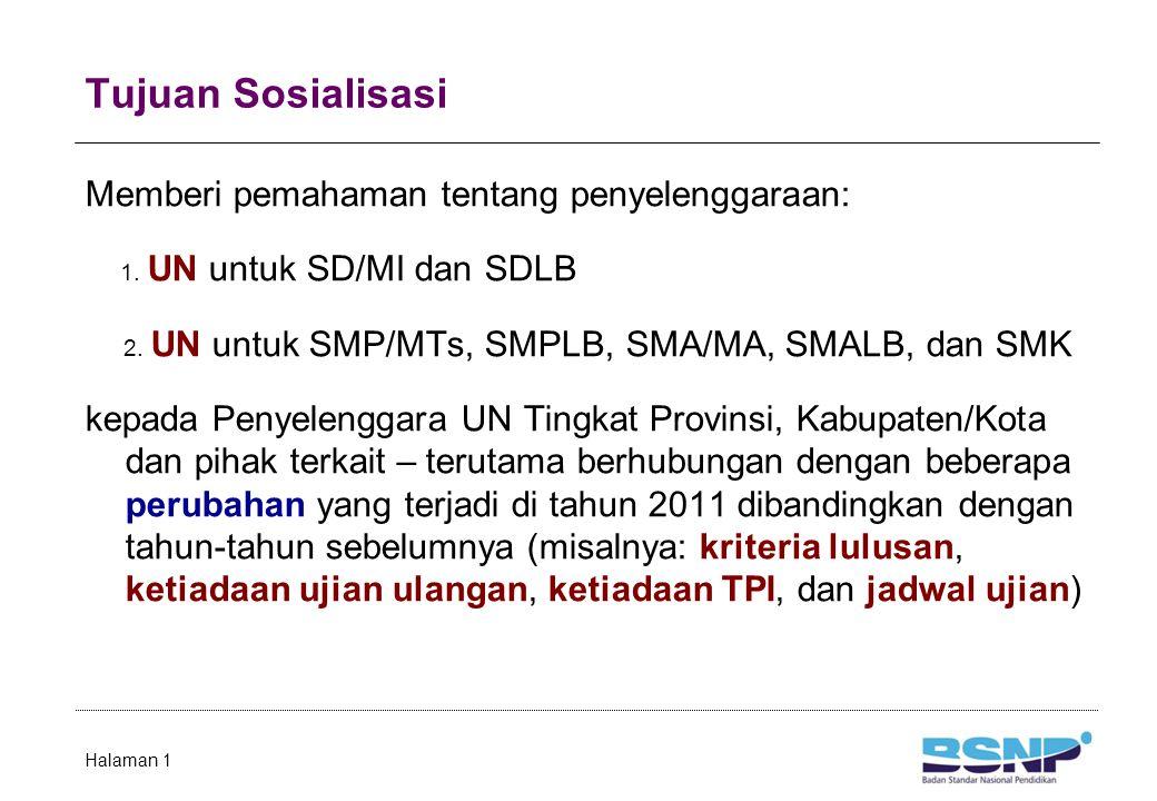 Tujuan Sosialisasi Memberi pemahaman tentang penyelenggaraan: 1. UN untuk SD/MI dan SDLB 2. UN untuk SMP/MTs, SMPLB, SMA/MA, SMALB, dan SMK kepada Pen