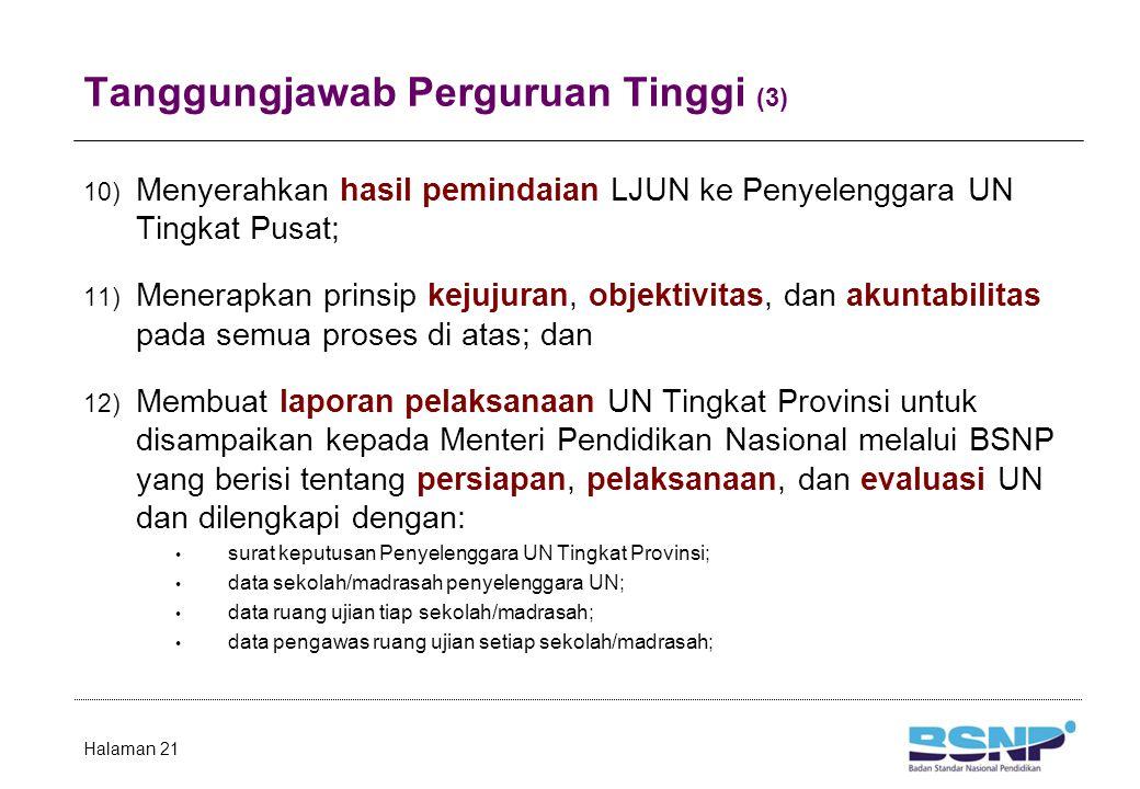 Tanggungjawab Perguruan Tinggi (3) 10) Menyerahkan hasil pemindaian LJUN ke Penyelenggara UN Tingkat Pusat; 11) Menerapkan prinsip kejujuran, objektiv