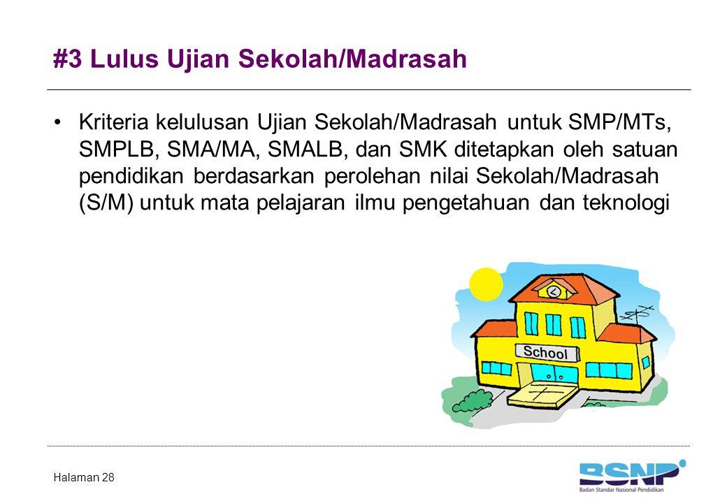 #3 Lulus Ujian Sekolah/Madrasah Kriteria kelulusan Ujian Sekolah/Madrasah untuk SMP/MTs, SMPLB, SMA/MA, SMALB, dan SMK ditetapkan oleh satuan pendidikan berdasarkan perolehan nilai Sekolah/Madrasah (S/M) untuk mata pelajaran ilmu pengetahuan dan teknologi Halaman 28