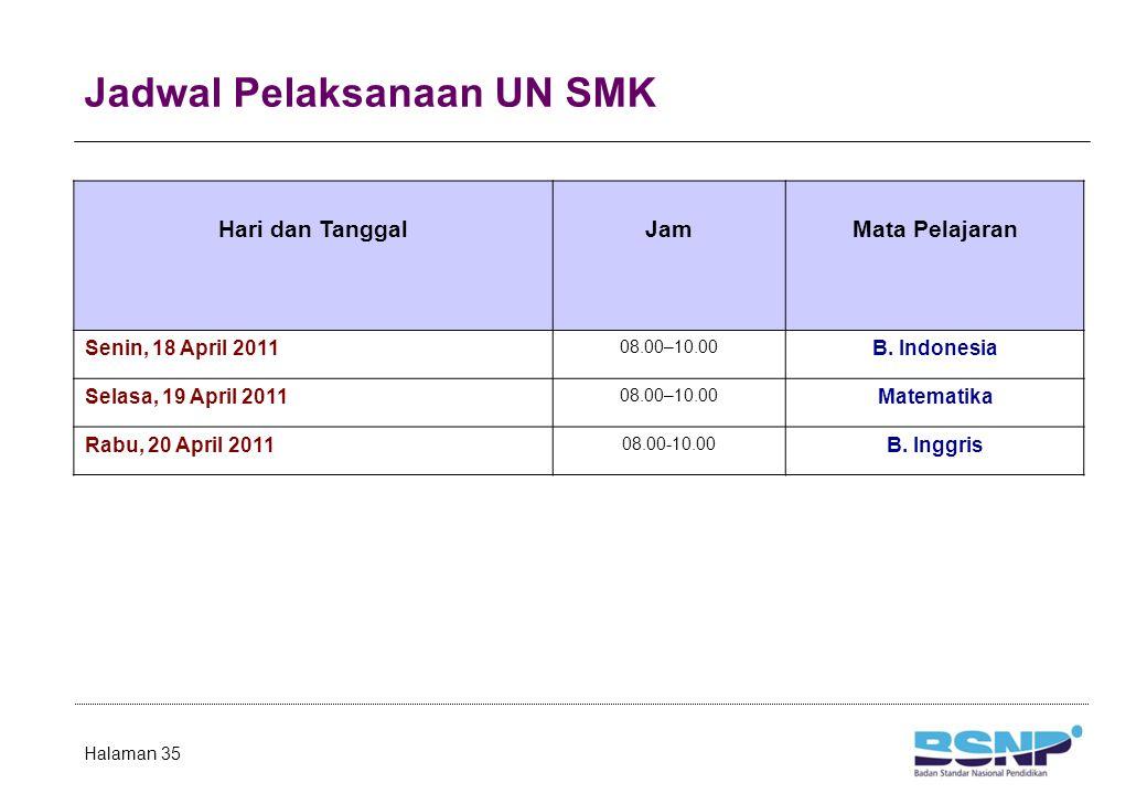 Jadwal Pelaksanaan UN SMK Halaman 35 Hari dan TanggalJamMata Pelajaran Senin, 18 April 2011 08.00–10.00 B. Indonesia Selasa, 19 April 2011 08.00–10.00