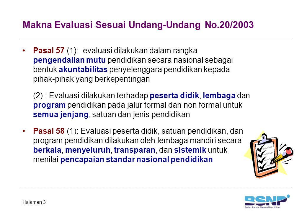 Makna Evaluasi Sesuai Undang-Undang No.20/2003 Pasal 57 (1): evaluasi dilakukan dalam rangka pengendalian mutu pendidikan secara nasional sebagai bent