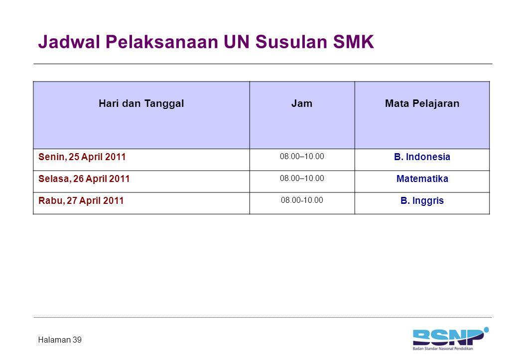 Jadwal Pelaksanaan UN Susulan SMK Halaman 39 Hari dan TanggalJamMata Pelajaran Senin, 25 April 2011 08.00–10.00 B. Indonesia Selasa, 26 April 2011 08.